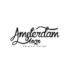 amsterdam city name logo original design original vector image