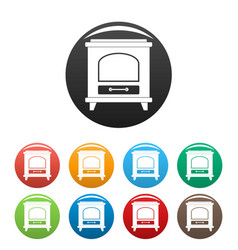ancient oven icons set color vector image