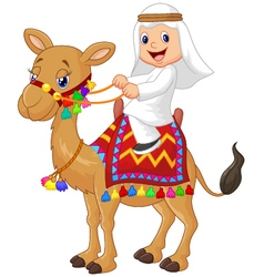 Arab boy riding camel vector
