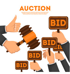 Auction poster with hands holding bid signs vector