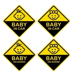 Baby on Board Sign Set White Background vector