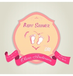 Baby shower invitation with baby feet vector