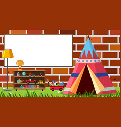 Background with toys and whiteboard on wall vector