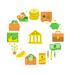 banking and money round concept in flat style vector image