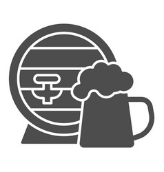 Barrel and mug beer solid icon craft beer vector