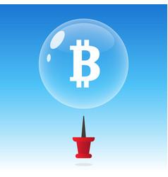 Bitcoin bubble burst or crash cryptocurrency vector