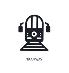 Black tramway isolated icon simple element from vector