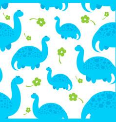 blue cartoon dinosaur pattern vector image vector image