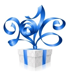 blue ribbon and gift box 2016 vector image