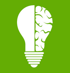 brain lamp icon green vector image