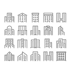 building icon offices school hospital city vector image
