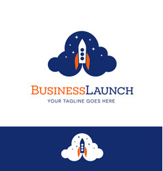 business startup logo icon with rocket launching vector image