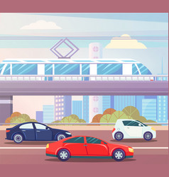 car and train moving in city transport vector image