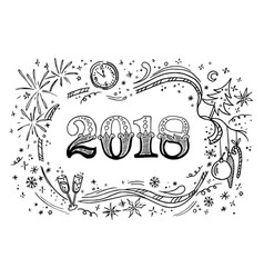 Cartoon doodles 2018 hand drawn new year vector