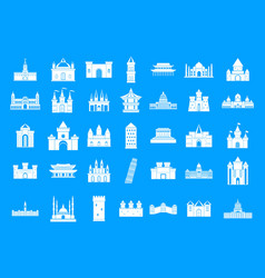 castle icon blue set vector image