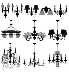 Chandelier light lamp a set of chandelier and vector