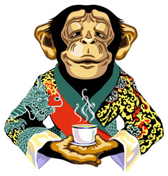 Chimp in red kimono holding cup tea vector