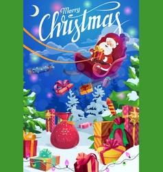 christmas sleigh with santa claus and xmas gifts vector image