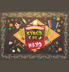 Cinco de mayo festival background mexican holiday vector