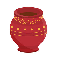 clay pot ancient ornament isolated icon design vector image