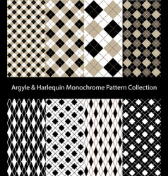collection argyle black and white patterns vector image