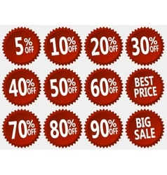 collection red discount stickers set vector image