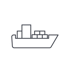 container cargo ship thin line icon linear vector image