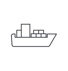 Container cargo ship thin line icon linear vector