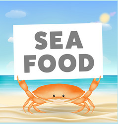 crab with seafood banner on sea sand beach vector image