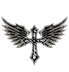cross wing emblem vector image