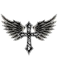 Cross wing emblem vector