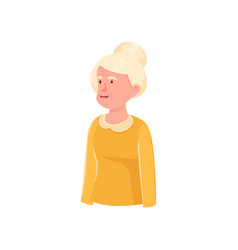 Cute granny avatar with white hair in yellow dress vector