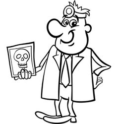 Doctor with xray black and white cartoon vector