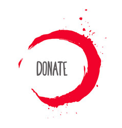 Donate lettering on hand paint bloody red vector