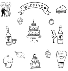 Doodle of wedding party vector