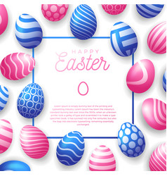 easter egg frame happy easter cute banner vector image