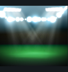 Empty football field with spotlights and lights vector