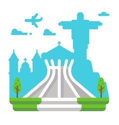 flat design brasila cathedral vector image