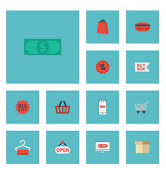 flat icons cash payment sign and other vector image