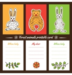 Forest animals printable cards vector
