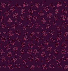 free love concept outline seamless pattern vector image