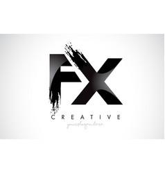 Fx letter design with brush stroke and modern 3d vector