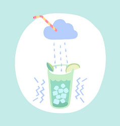 Glass of lemonade cloud and rain cocktail vector
