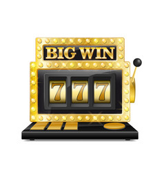 Golden slot machine wins the jackpot lucky seven vector