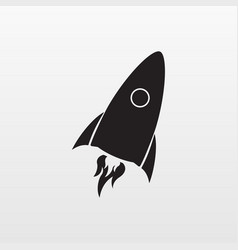 gray rocket icon isolated on background modern fl vector image