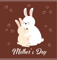 Greeting card for mothers day with rabbits vector