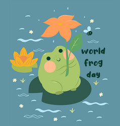 greeting card with a cute frog and inscription vector image