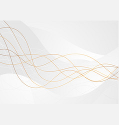 grey abstract wavy background with bronze lines vector image