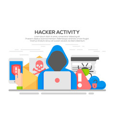 hacker internet computer security flat concept vector image