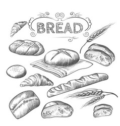 Hand drawn collection baked goods isolated vector